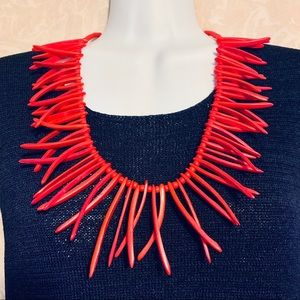 Spiky Red Coconut Wood Statement Necklace❤️